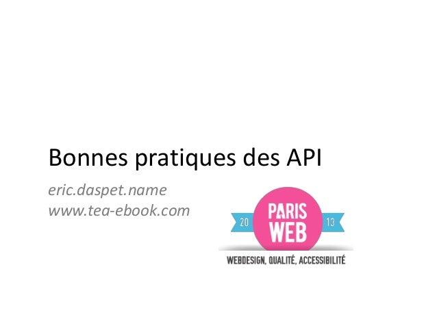 Bonnes pratiques API - Paris Web 2013