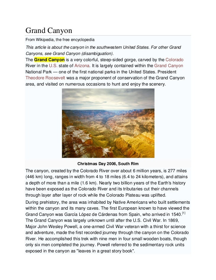 Grand CanyonFrom Wikipedia, the free encyclopediaThis article is about the canyon in the southwestern United States. For o...