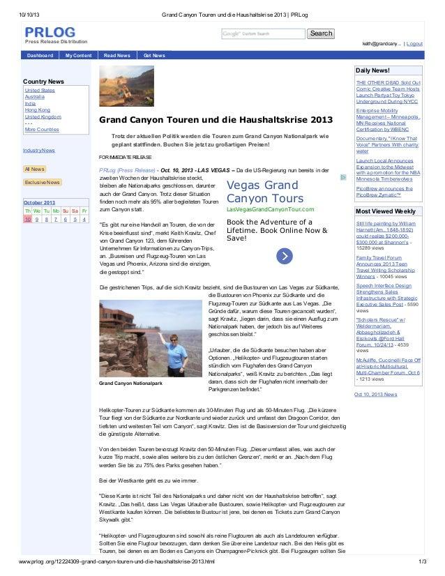 10/10/13 Grand Canyon Touren und die Haushaltskrise 2013 | PRLog www.prlog.org/12224309-grand-canyon-touren-und-die-hausha...
