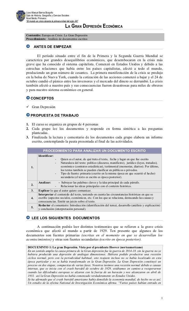 """Liceo Manuel Barros BorgoñoDpto de Historia, Geografía y Ciencias SocialesNivel Medio: Primeros""""El mundo en crisis durante..."""