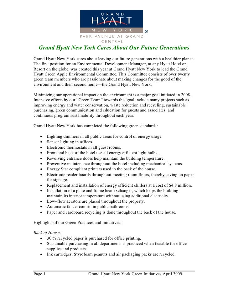 Grand Hyatt New York Green Initiatives April 2009