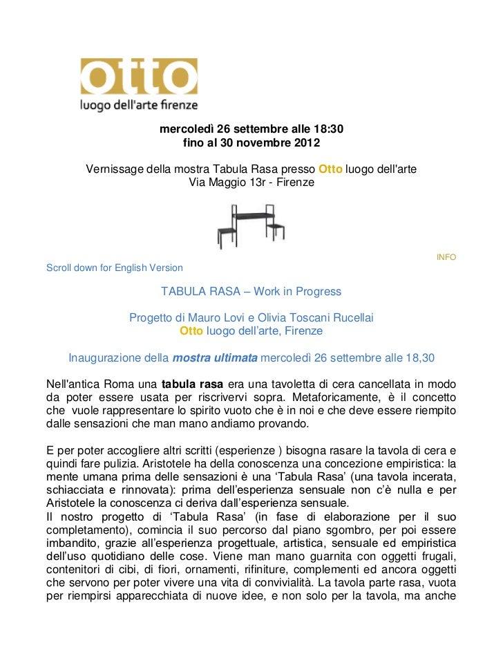 mercoledì 26 settembre alle 18:30                            fino al 30 novembre 2012        Vernissage della mostra Tabul...