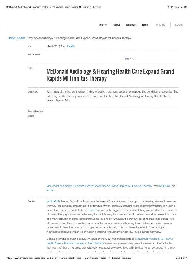 McDonald Audiology & Hearing Health Care Expand Grand Rapids MI Tinnitus Therapy