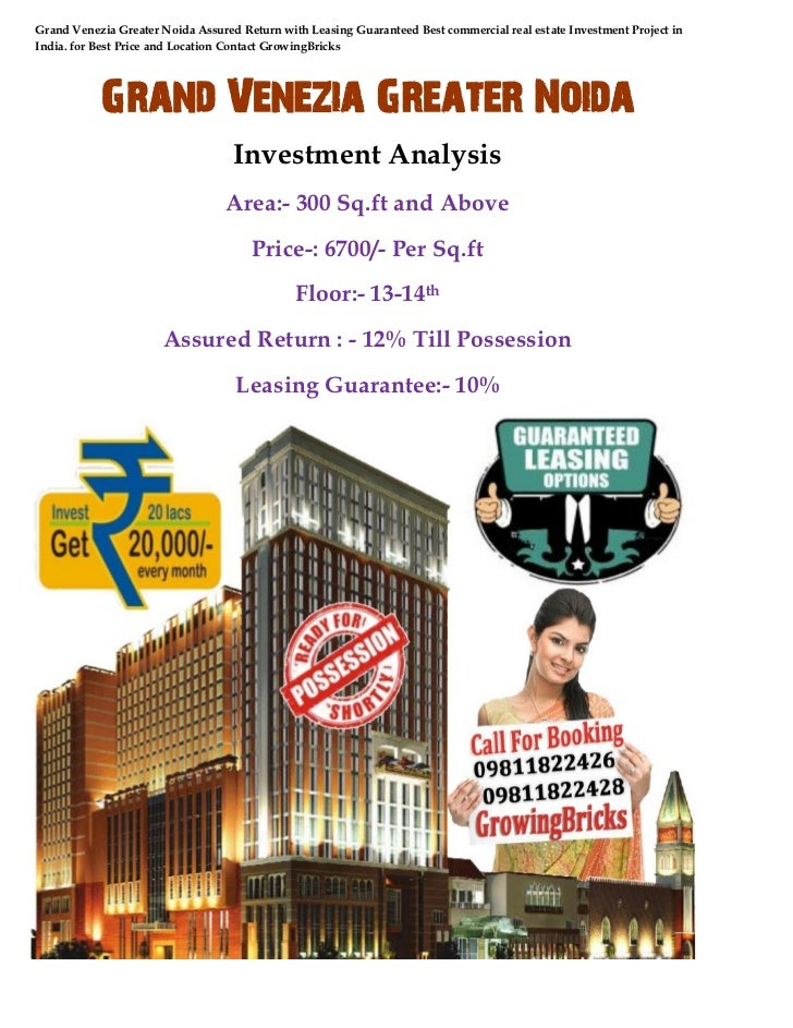 Grand Venezia Greater Noida Assured Return with Leasing Guaranteed Best commercial real estate Investment Project inIndia....