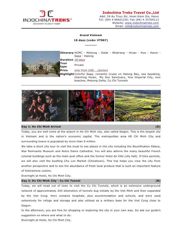 Indochina Treks Travel Co.,Ltd                                                             Add: 24 Au Trieu Str, Hoan Kiem...
