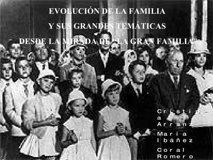"""EVOLUCIÓN DE LA FAMILIA  Y SUS GRANDES TEMÁTICAS  DESDE LA MIRADA DE """"LA GRAN FAMILIA"""" Cristina Arranz María Ibáñez Coral ..."""