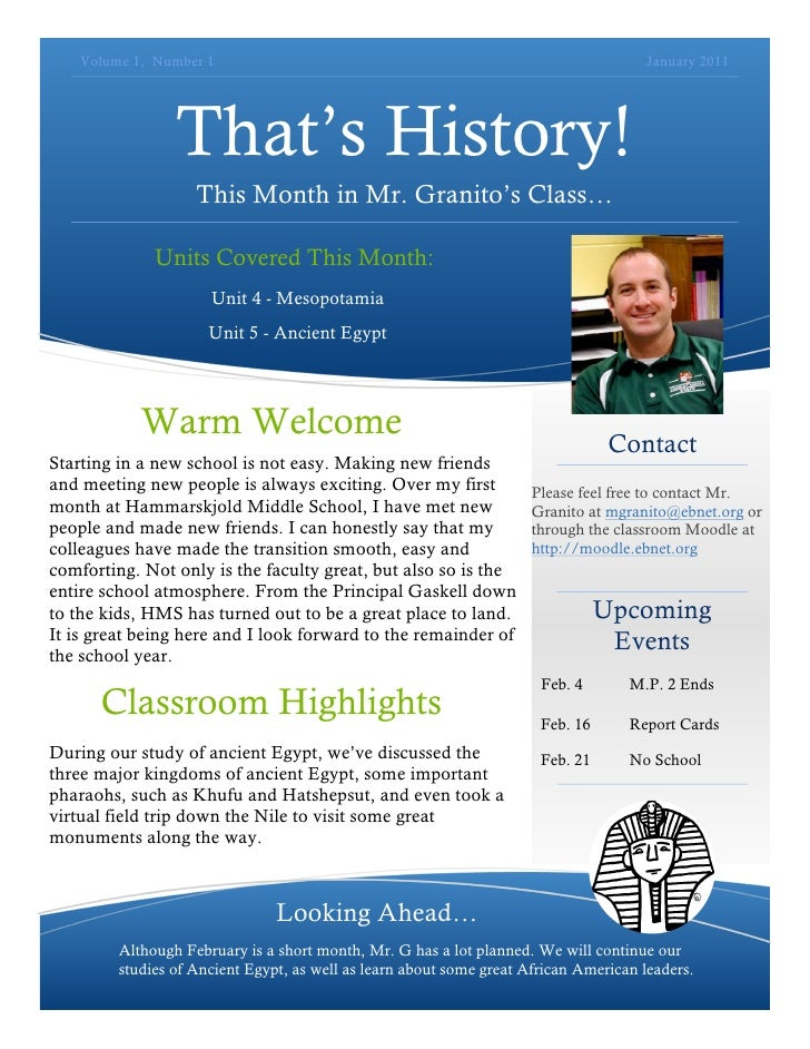 That's History Newsletter   January