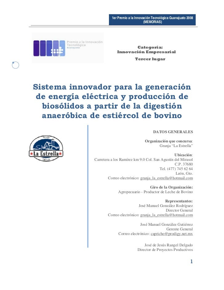 1er Premio a la Innovación Tecnológica Guanajuato 2008                                                  (MEMORIAS)       ...