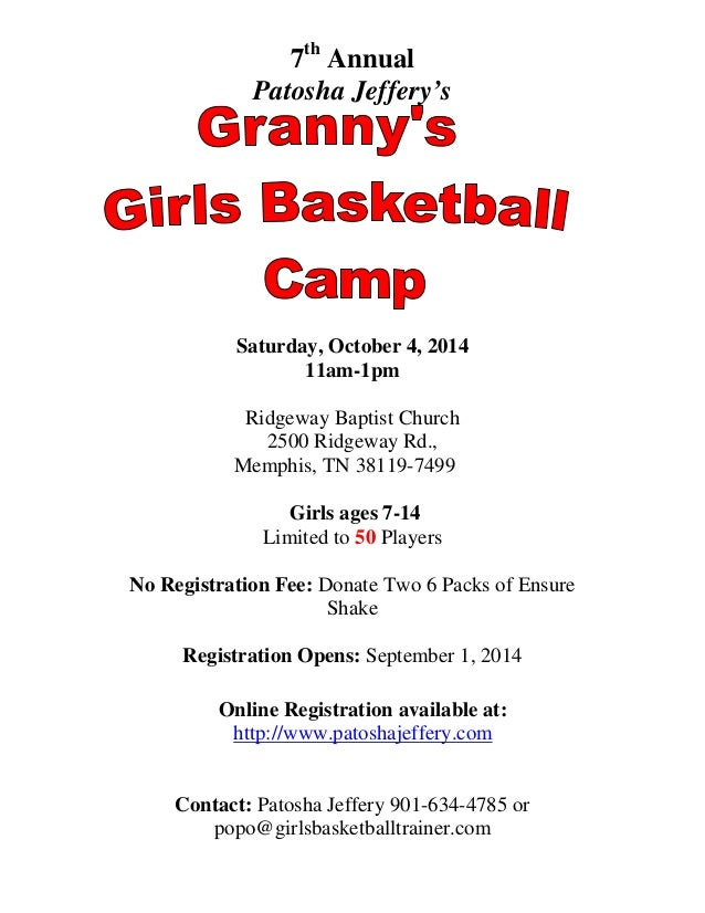 Granny's Basketball Camp Flyer