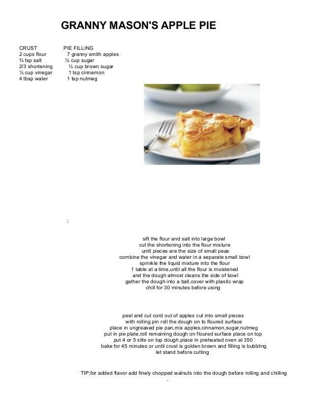Granny mason's apple pie