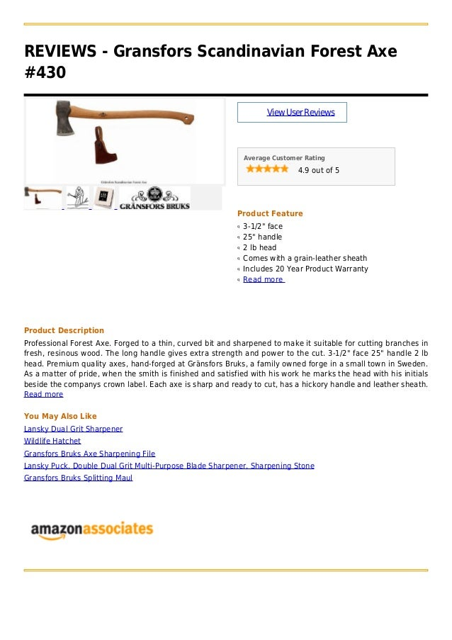 """REVIEWS - Gransfors Scandinavian Forest Axe#430ViewUserReviewsAverage Customer Rating4.9 out of 5Product Feature3-1/2"""" fac..."""