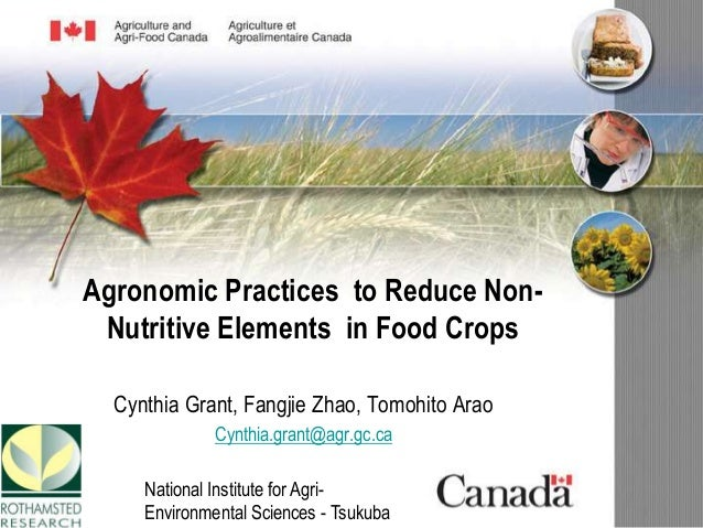 Agronomic Practices to Reduce Non- Nutritive Elements in Food Crops Cynthia Grant, Fangjie Zhao, Tomohito Arao Cynthia.gra...