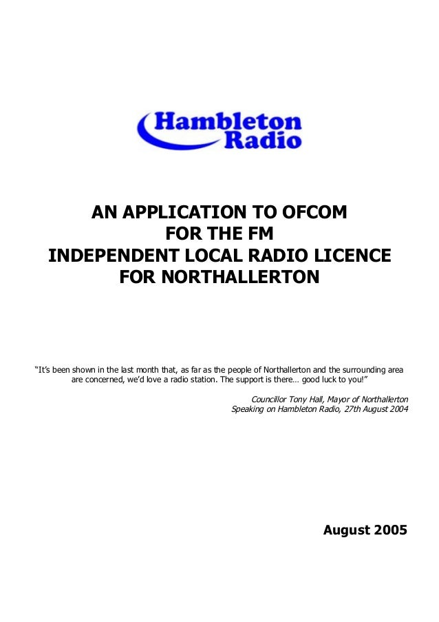 'An Application To Ofcom For The FM Independent Local Radio Licence For Northallerton By Hambleton Radio' by Grant Goddard