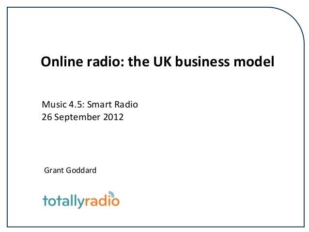 Onlineradio:theUKbusinessmodel Music4.5:SmartRadio 26September2012  GrantGoddard
