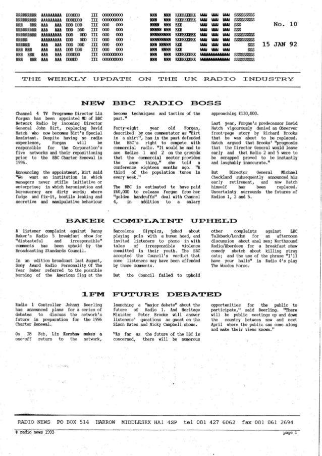 'Radio News: No. 10, 15 January 1993' by Grant Goddard