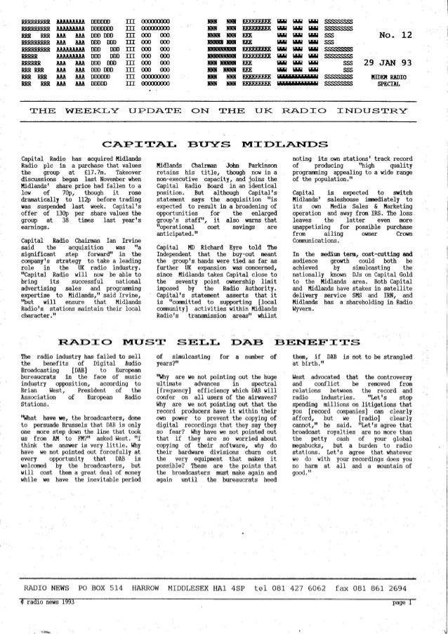 'Radio News: No. 12, 29 January 1993' by Grant Goddard