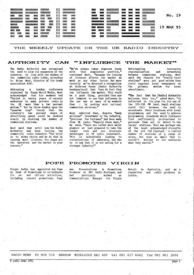'Radio News: No. 19, 19 March 1993' by Grant Goddard
