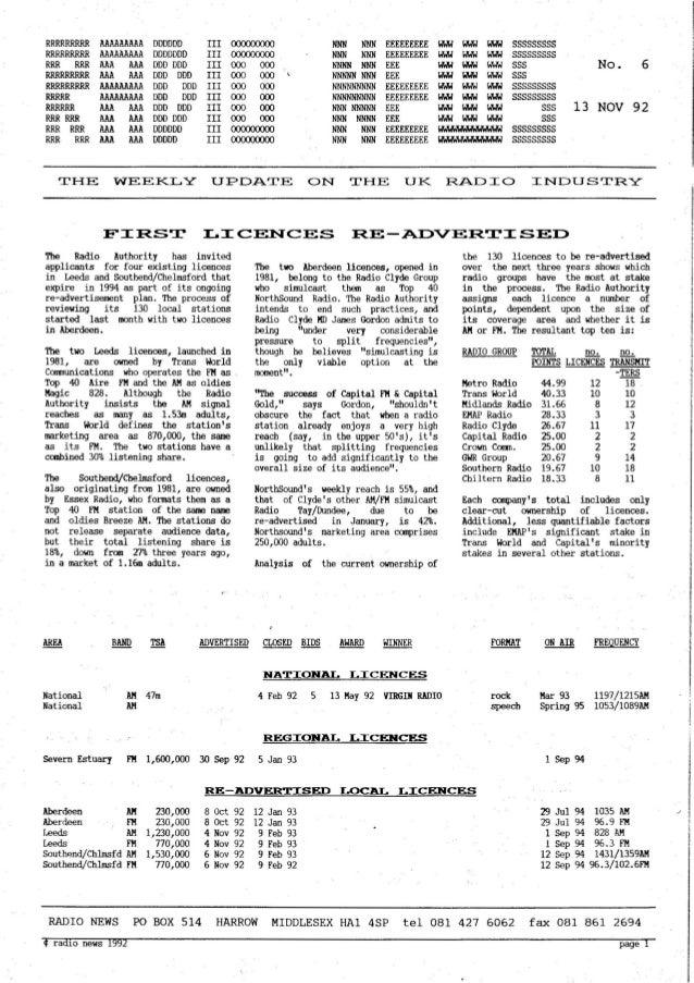 'Radio News: No. 6, 13 November 1992' by Grant Goddard