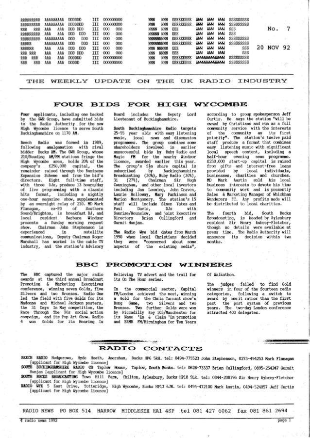 'Radio News: No. 7, 20 November 1992' by Grant Goddard