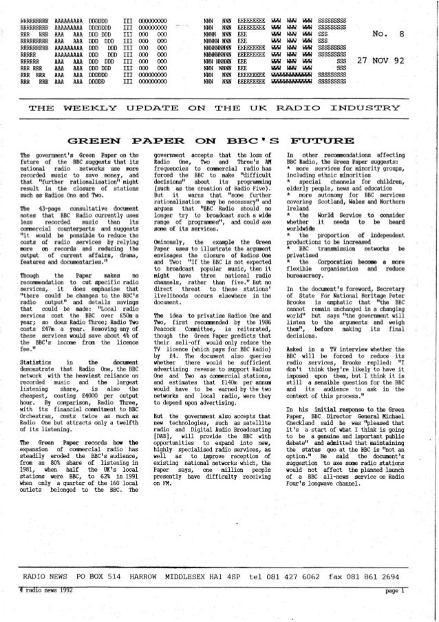 'Radio News: No. 8, 27 November 1992' by Grant Goddard