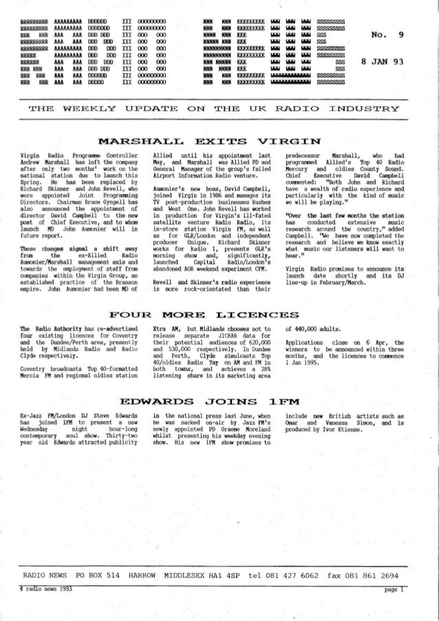 'Radio News: No. 9, 8 January 1993' by Grant Goddard
