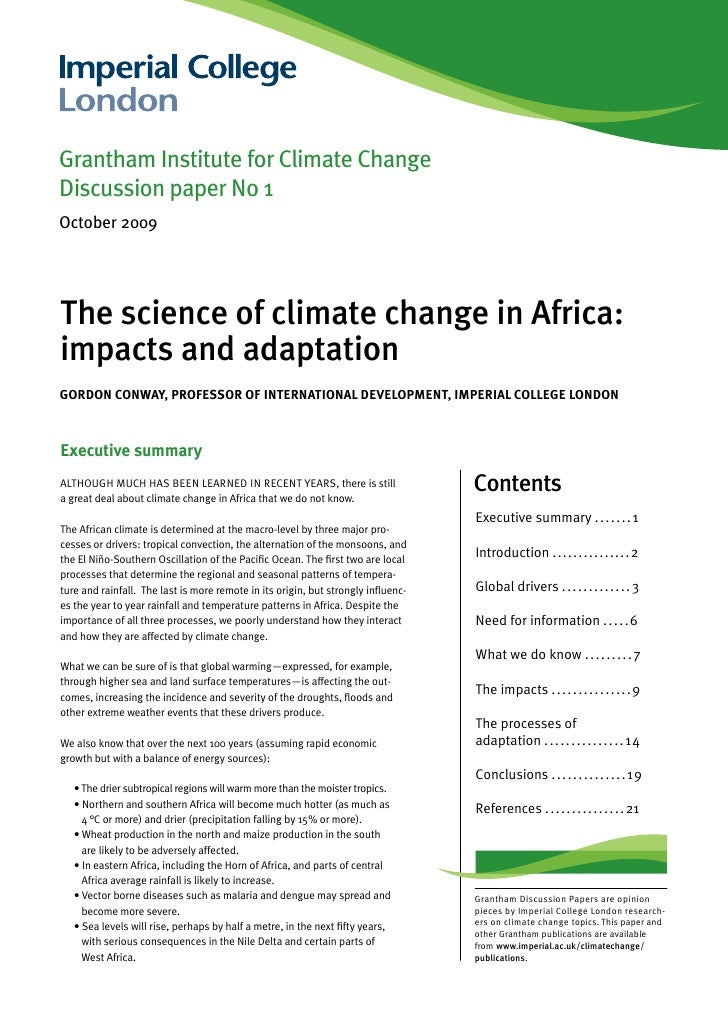 Grantham Institute for Climate ChangeDiscussion paper No 1October 2009The science of climate change in Africa:impacts and ...