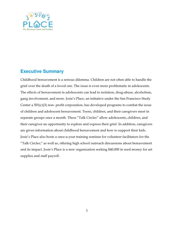 executive summary for non profit Executive summary the chinmaya organization for rural development (cord) was established in 1985 in himachal pradesh, india cord started its work by providing rural primary health care to the surrounding under developed villages in the area.
