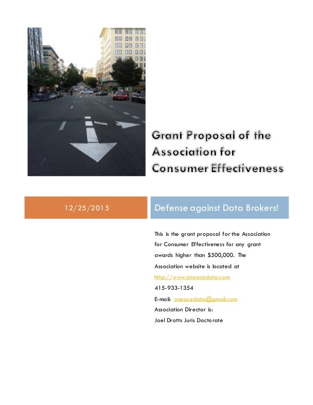 Grant Proposal of the Association for Consumer