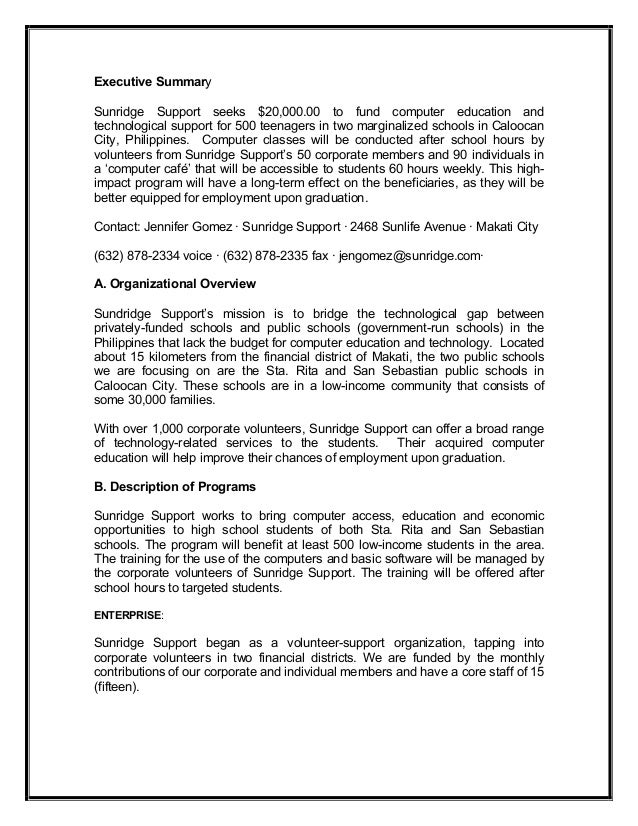 Executive Summary Proposal Template Executive Summary Example – Executive Summary Proposal Template