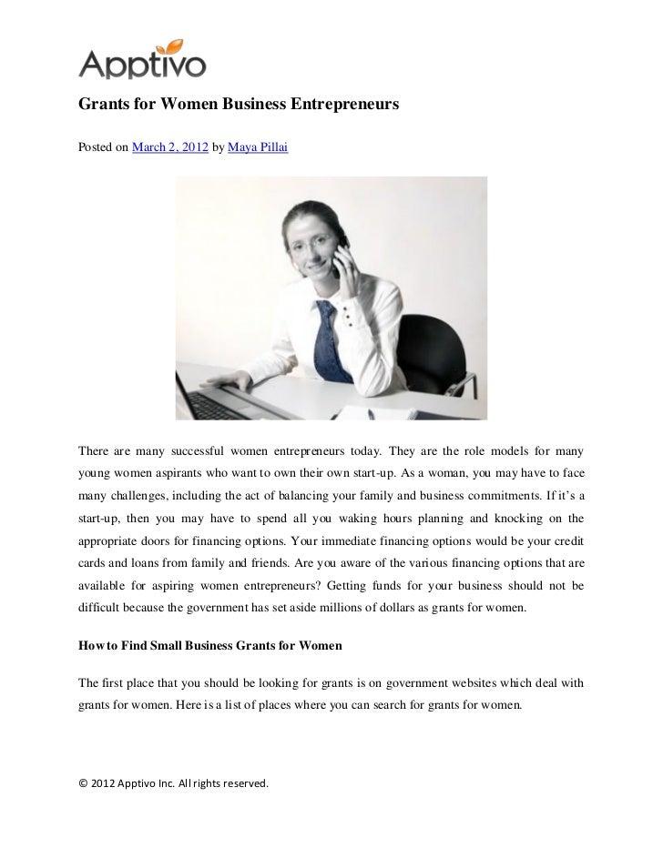 Grants for women business entrepreneurs
