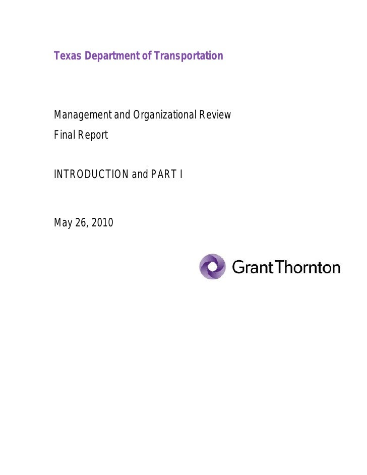Grant Thornton: TxDOT Managament and Organizational Review