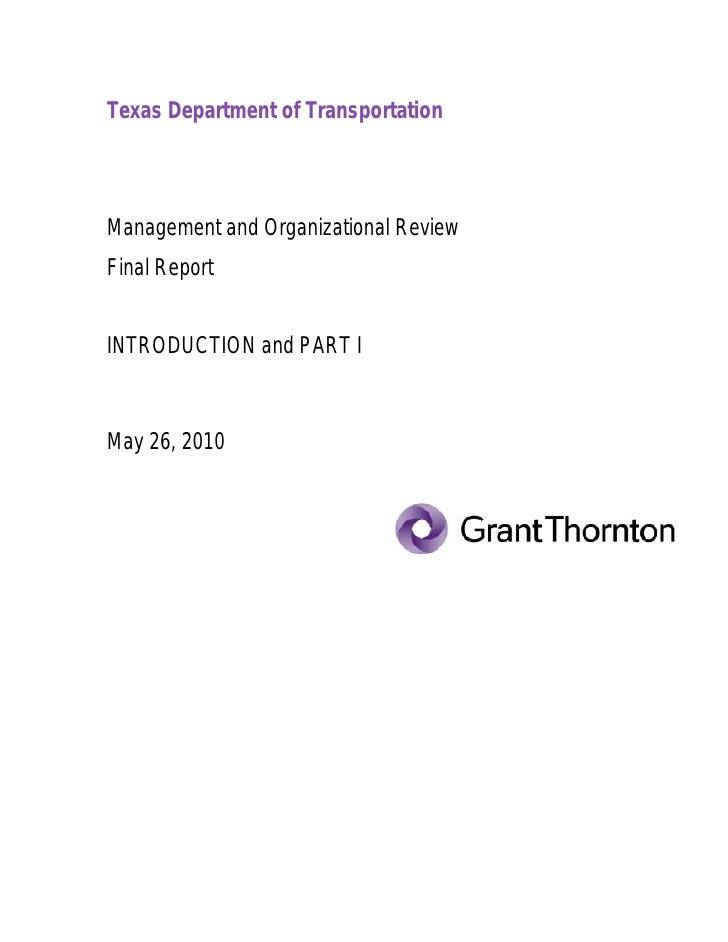 Grant Thornton: TxDOT Managament and Organizational Review