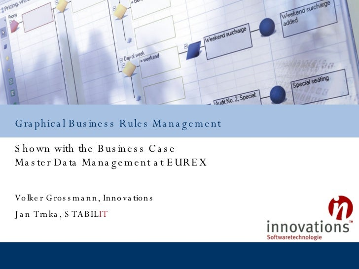 Shown with the Business Case Master Data Management at EUREX Graphical Business Rules Management Volker Grossmann, Innovat...
