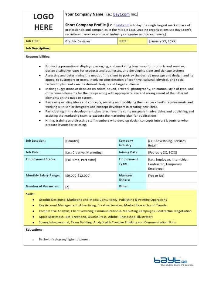 Document Designer Job Description