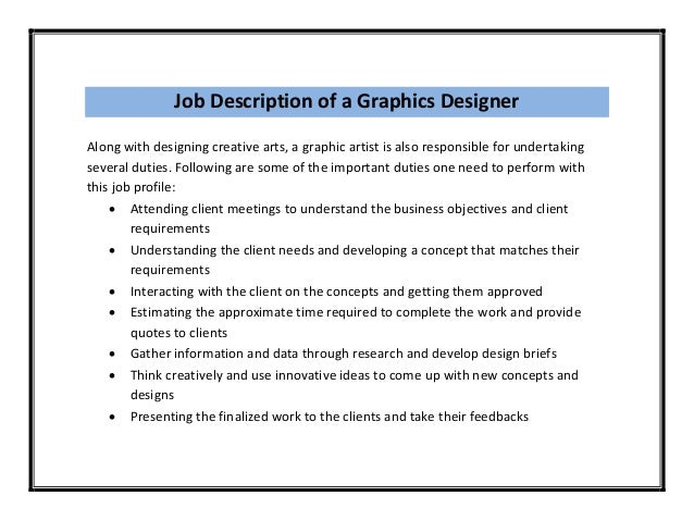 Visual Graphic Designer Job Description