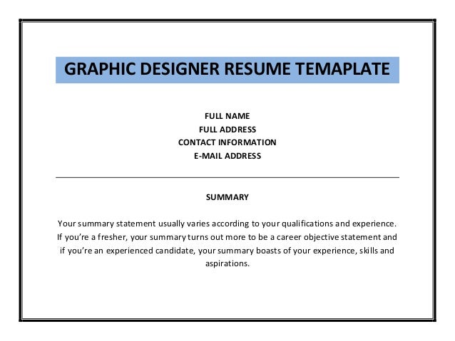 graphic designer resume template pdf