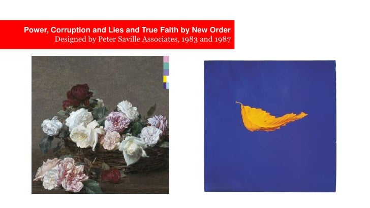 Power, Corruption and Lies and True Faith by New OrderDesigned by Peter Saville Associates, 1983 and 1987 <br />