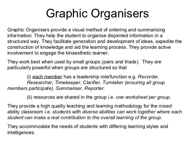 Graphic OrganisersGraphic Organisers provide a visual method of ordering and summarisinginformation. They help the student...