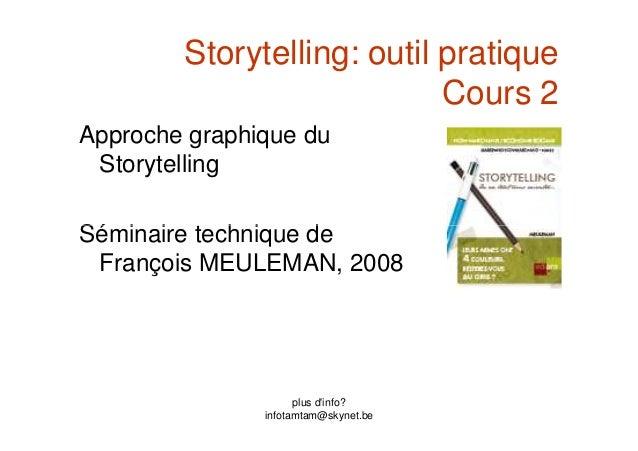 Storytelling: outil pratique Cours 2 Approche graphique du Storytelling Séminaire technique de plus d'info? infotamtam@sky...