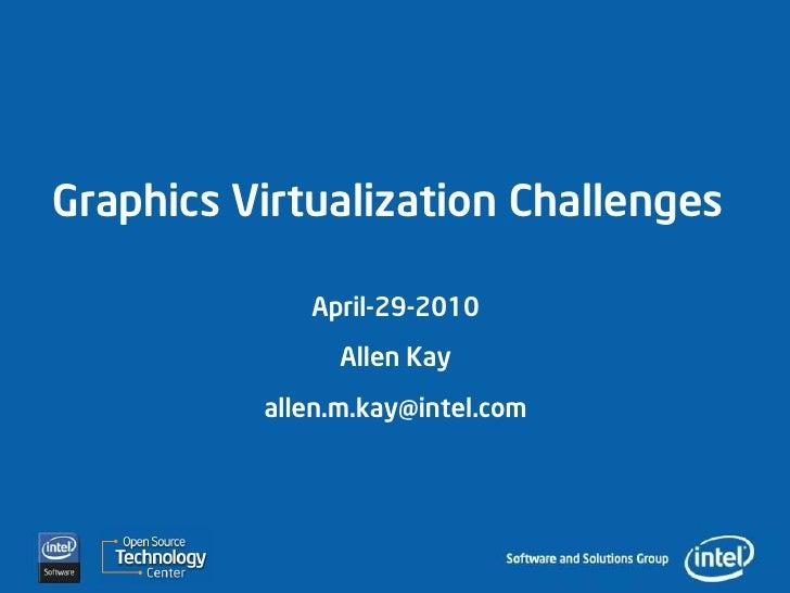 Graphics Virtualization Challenges               April-29-2010                 Allen Kay           allen.m.kay@intel.com