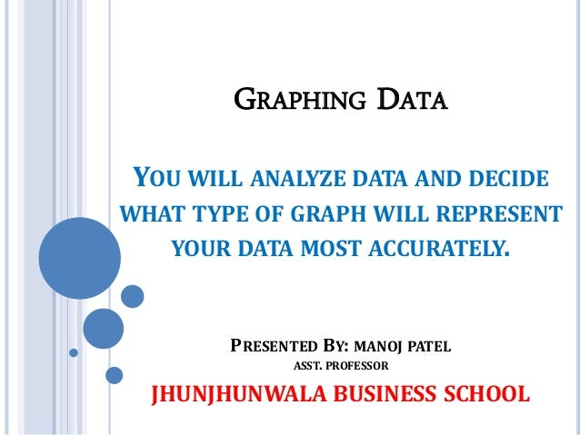 GRAPHING DATA YOU WILL ANALYZE DATA AND DECIDE WHAT TYPE OF GRAPH WILL REPRESENT YOUR DATA MOST ACCURATELY. PRESENTED BY: ...