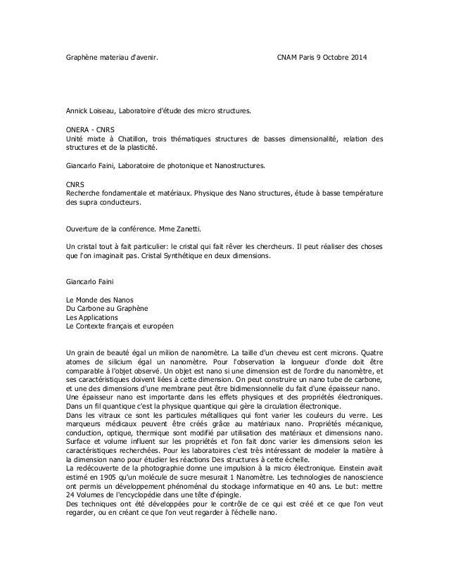 Graphène materiau d'avenir. CNAM Paris 9 Octobre 2014 Annick Loiseau, Laboratoire d'étude des micro structures. ONERA - CN...
