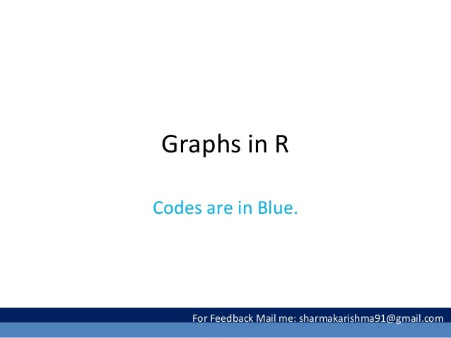 Graphs in R Codes are in Blue. For Feedback Mail me: sharmakarishma91@gmail.com