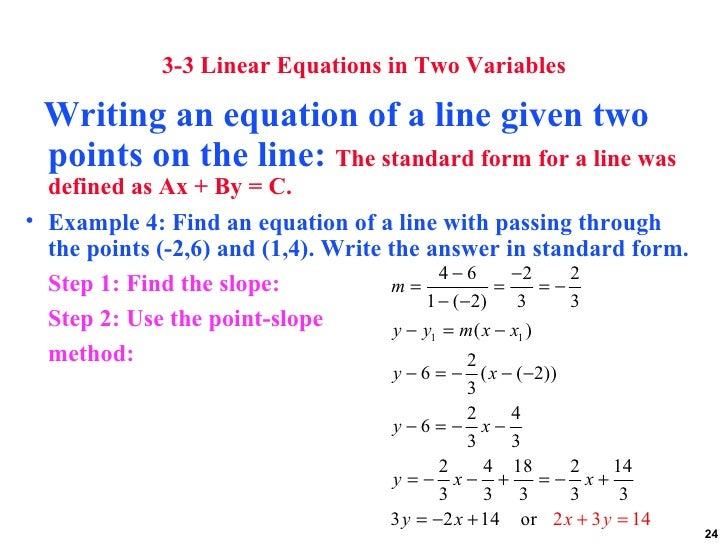 Equation of Line from 2 Points Calculator