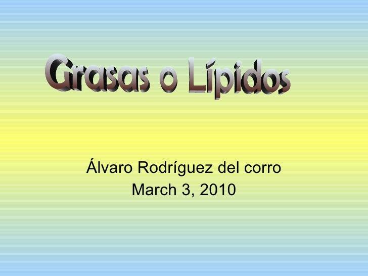 Álvaro Rodríguez del corro March 3, 2010 Grasas o Lípidos