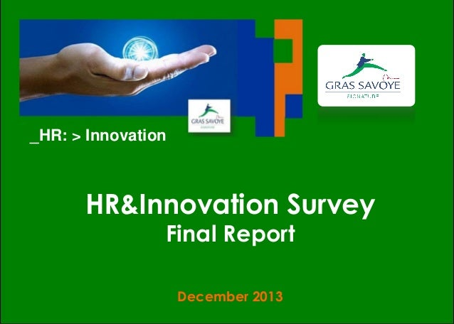 _HR: > Innovation  HR&Innovation Survey Final Report December 2013