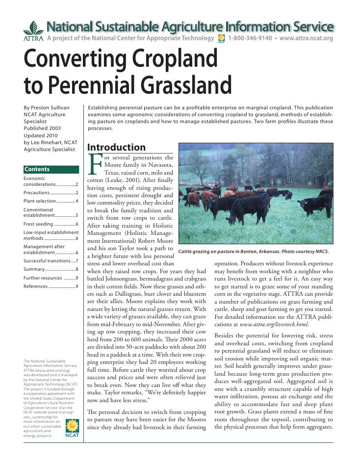 Converting Cropland to Perennial Grassland