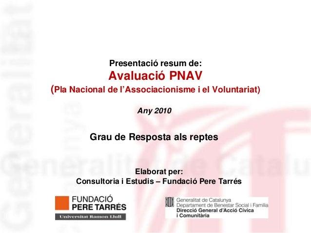 Presentació resum de:              Avaluació PNAV(Pla Nacional de l'Associacionisme i el Voluntariat)                     ...