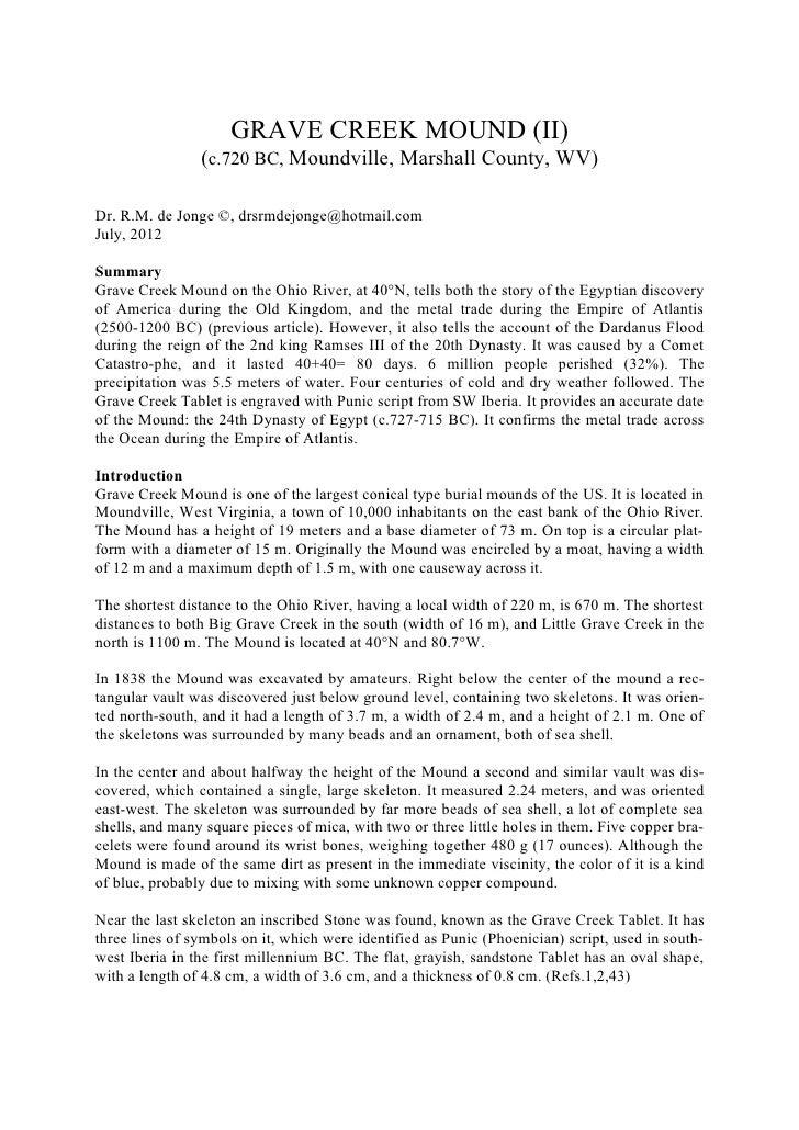 GRAVE CREEK MOUND (II)                (c.720 BC, Moundville, Marshall County, WV)Dr. R.M. de Jonge ©, drsrmdejonge@hotmail...
