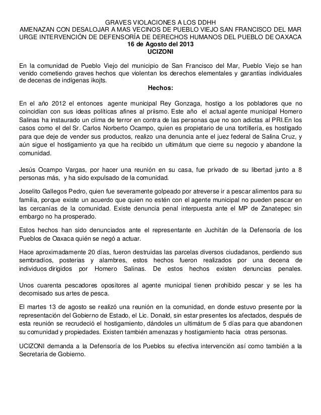 GRAVES VIOLACIONES A LOS DDHH AMENAZAN CON DESALOJAR A MAS VECINOS DE PUEBLO VIEJO SAN FRANCISCO DEL MAR URGE INTERVENCIÓN...